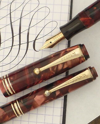 Parker Depression Step-End Fountain Pen Pencil Set, Red Marble, Some Flex