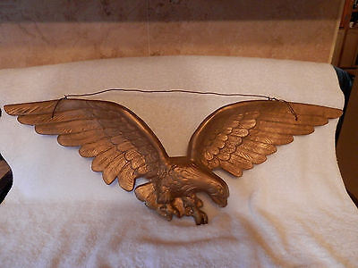 """Vintage OLD~CAST METAL 29"""" AMERICAN  EAGLE WALL HANGING  painted GOLD"""