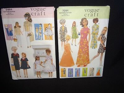 """Vogue Craft 9964 & 7291 Clothes Patterns for 11.5"""" Fashion Doll 1960's to 1970's"""