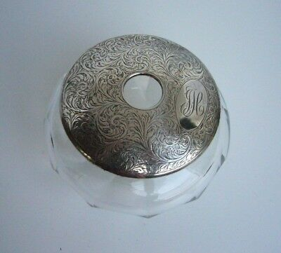 Charles Green & Co Sterling Birmingham Hair Receiver Crystal 1925 Monogramed JLC