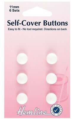 HEMLINE SELF COVER BUTTONS 11mm 6 PACK NO TOOL REQUIRED EASY TO FIT CRAFT bnew