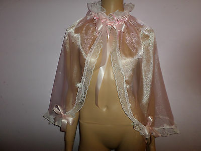 Adult Baby  Pink Organza Sissy  Cape  Frilly  Satin Ties + Bows White Lace Trim
