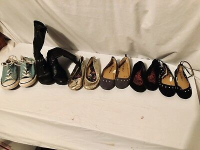 Lot 6 Girls Shoes American eagle Converse Chatties faded glory  Boots Sz  1