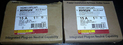 Square D Homeline 15 Amp AFCI HOM115PCAFI Lot of 2 Breakers With Plug On Neutral