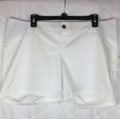 Old Navy Womens Maternity Shorts Size 14 White Twills Elastic Stretch New -400