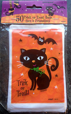 50 x HALLOWEEN Black Cat Loot bags Treat Bags Party bags trick or treat FREE P&P