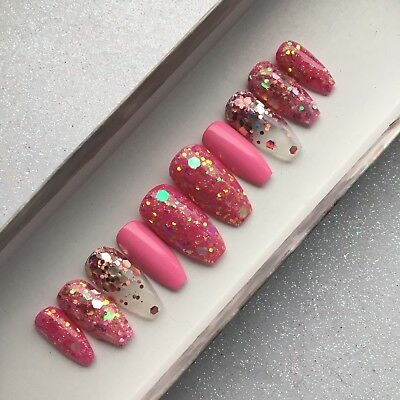 Hand Painted False Nails New Years Eve Pink Glitter Bomb Press On Coffin Nails