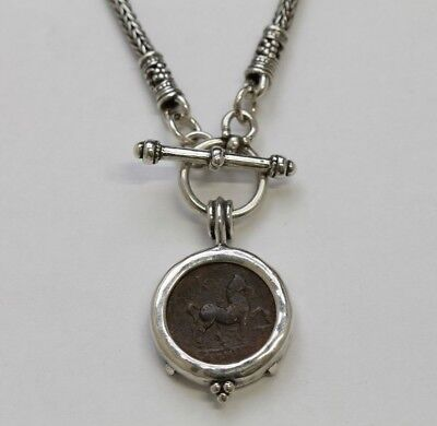 Sterling Silver Toggle Necklace, Ancient Greek Coin w/Cert, 2125N