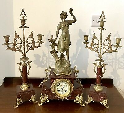 Antique French 19thC Mantel Clock And Candelabras In Dark Red Marble