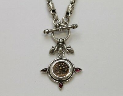 Sterling Silver Toggle Necklace, Ancient Jewish Coin (Widows Mite). Cert  2127N