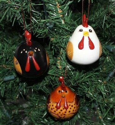 Peruvian Gourd Ornament Roosters Designs Set of 3 New  (#1.1)