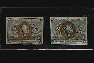 1863 Series 5c & 10c Fractional Currency 2nd Issue Banknotes FR-1232 FR-1245 Set