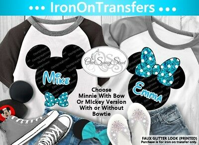 Disney Mickey Or Minnie T-Shirt Iron On Transfer Personalized - Bow Or Bow Tie