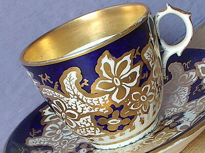 Antique 1800's English porcelain tea cup Victorian Blue and gold teacup