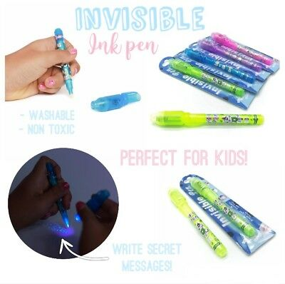 5 Invisible Ink Pens w/Black light | Secret Message +Reveal |Hidden Highlighter