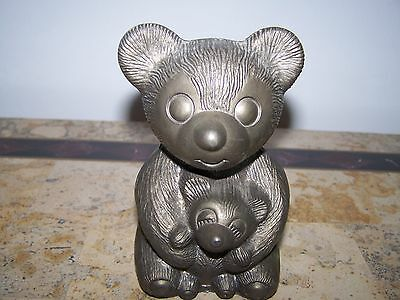 Vintage Regal Silver Metal Teddy Bear Piggy Bank