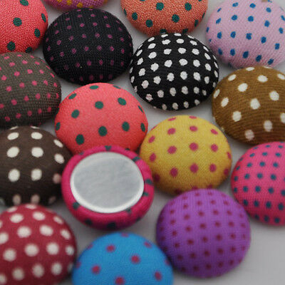 50/100pc 15mm round polka-dot printing fabric covered button flatback CT08
