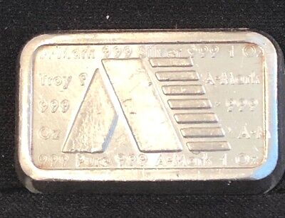 A-Mark Chunky Ingot 1 oz .999 fine silver stacking bar USVI 1981