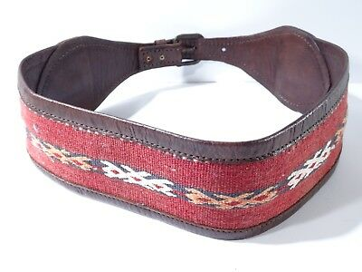 DANNIJO Red and Brown Crochet Brown leather Morocco Waist Belt Sz 32.5 Long