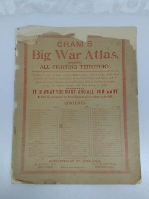 Extremly Rare Peice of History Vintage Cram's Big War Atlas May 6th 1898 AS IS