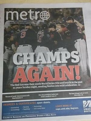 Boston Red Sox 2018 World Series Champions Boston Metro Newspaper October 29