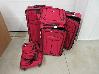 5 Piece American Tourister Luggage Travel Wheeled Roller Duffel Red Nylon Set