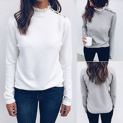 Womens High Lace Neck Long Sleeve Winter Warm Blouse Casual Sweater Shirt Tops