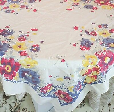 """Vintage Tablecloth 48"""" x 50""""  Primary Colors Floral 1950's"""