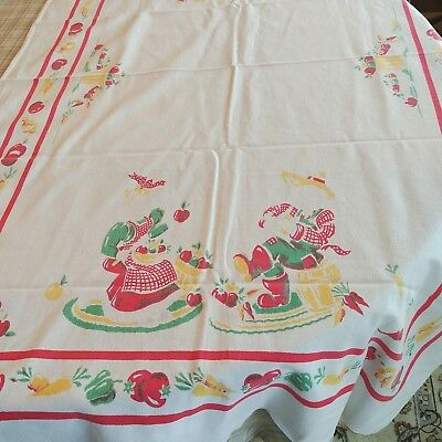 """Vintage Screen Print Tablecloth 33"""" x 54"""" 1940's Red Green Yellow Vegetables"""