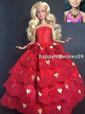 Barbie Doll Red Dress/Outfit/Gown & Handmade Necklace & Shoes 3 Piece Set New