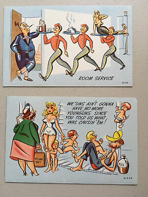 Lot of 2 Humor Cards; Comic Postcards; Slightly Risque & Sexy; Chrome Unused