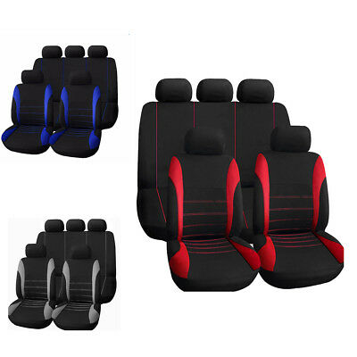 Universal Car Seat Covers Front Rear Back Head Rest Full Set Auto Protector