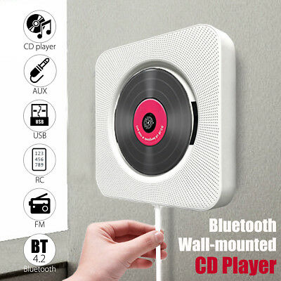 Bluetooth Wall Mount CD Player Remote Control HiFi Speaker FM AUX USB Stereo UK