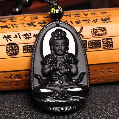 Natural Unisex Black Obsidian Necklace Jewelry Gifts Buddha Amulet Carve