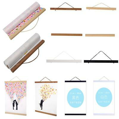 Magnetic Wooden Photo Picture Frame Wall Poster Scroll Prints Artwork Hanger SD