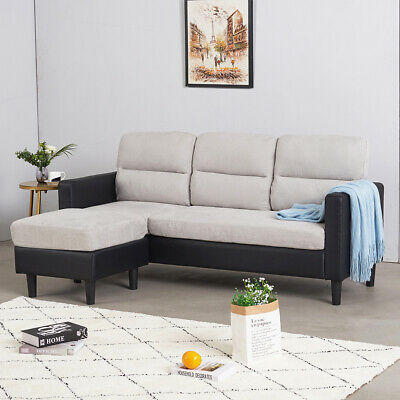 Pu Leather & Fabric Corner Sofa - Assemble As Left Or Right - Home Lounge Indoor