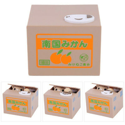 Automatic Cat Stealing Coins Box Birthday Gift For Kid Child Learn Saving Money