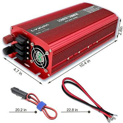 3000W Max Power Inverter DC 12v to AC 110v Car Boat Converter Camping Travel USB