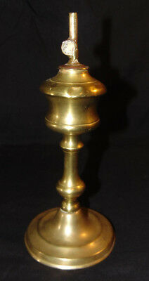"Antique Brass Whale Oil Lamp Unmarked 9-4/8"" Estate Fresh Primitive LIghting"