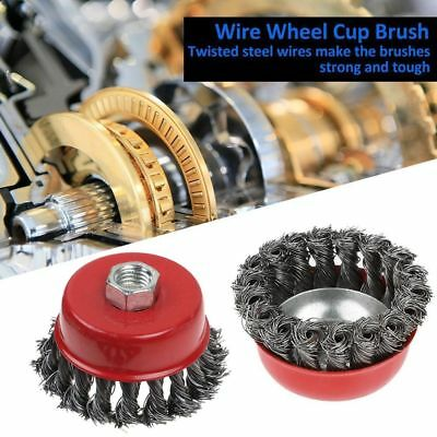"""4Pcs 3"""" 4"""" Twist Knot Wheel Flat Wire Cup Brush Set for Angle Grinder M14 Screw"""