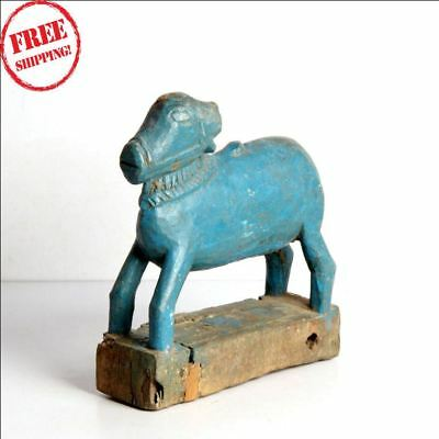 1850S Indian Old Antique Hand Carved Polychrome Wooden Holy Cow Nandi Figurine W