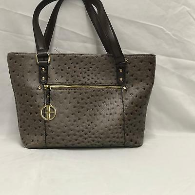 GIANI BERNINI RED Faux OSTRICH Embossed Tote Shoulder Bag MSRP  129 ... 821105d745