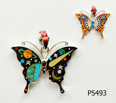 Pretty Turquoise  Celestial Multicolor Opal Inlay .925 Silver Butterfly Pendant