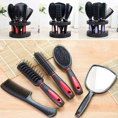5 Pcs Women Ladies Hair Brush Massage Comb Holder Set With Mirror & Stand Holder