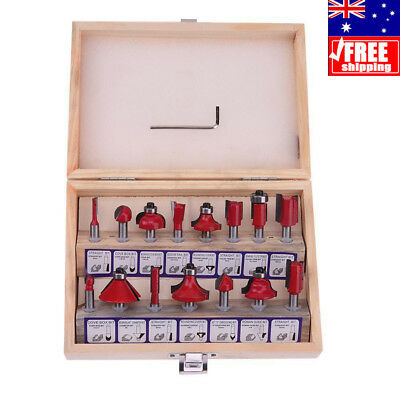 15pcs/Set 1/4 inch Router Bit Shank Tungsten Carbide Rotary Tool + Wood Case Box
