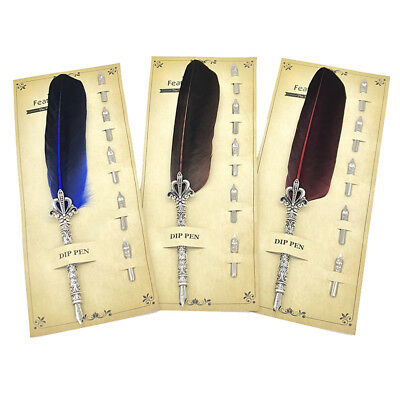 Vintage Feather Quill Dip Fountain Pen Smooth Writing Supplies Stationery Beamy