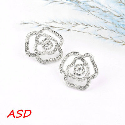 Wholesale 10pcs Black/Silver Hollow Big Rose Flower Ear Studs Cubic Zirconia