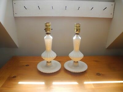 Vintage Pair (2) of Milk Glass Swirled Design Bedside Table Lamps