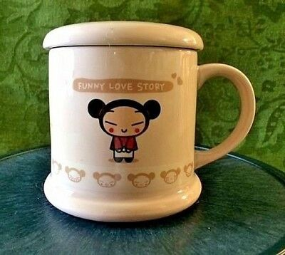 Pucca Funny Love Story Mug With Lid Light Pink Garu Anime Tea Coffee Cup LOVELY!
