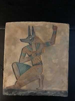 Rare Ancient Egyptian Relief Limestone  Of Anubis (c. 1478–1458 BC )